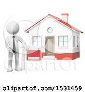 Clipart Of A 3d White Man Real Estate Agent By A Home For Sale On A White Background Royalty Free Illustration