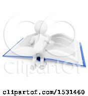 3d White Man Reading A Giant Book On A White Background