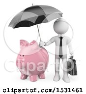 Clipart Of A 3d White Business Man Holding An Umbrella Over A Piggy Bank On A White Background Royalty Free Illustration