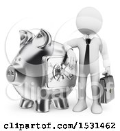 Poster, Art Print Of 3d White Business Man With A Silver Piggy Bank On A White Background