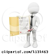 3d White Business Man Holding A Contract On A White Background