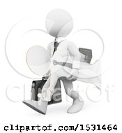 3d White Business Man Carrying A Lifesize Cardboard Cutou On A White Background