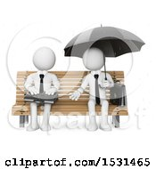 3d White Business Man Offering To Someone In The Rain On A Bench On A White Background