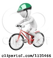 Clipart Of A 3d White Man Wearing A Helmet And Riding A Bike On A White Background Royalty Free Illustration