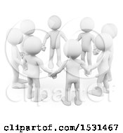 3d Circle Of White Men Holding Hands On A White Background