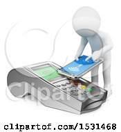 3d White Man Paying With A Mobile Phone With NFC On A White Background