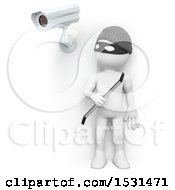 3d White Man Robber Under A Surveillance Cam On A White Background