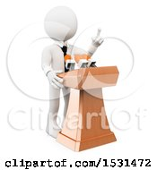 3d White Business Man Speaking At A Press Conference On A White Background