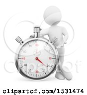 3d White Man Leaning On A Stopwatch On A White Background