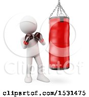 Clipart Of A 3d White Man Boxer By A Punching Bag On A White Background Royalty Free Illustration
