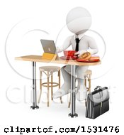 3d White Business Man Working While Eating Breakfast On A White Background