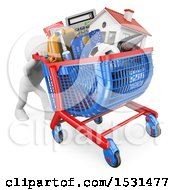 3d White Man Pushing A Shopping Cart Full Of Expenses On A White Background