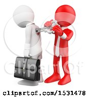 Clipart Of A 3d Red Man Winding Up A White Business Man On A White Background Royalty Free Illustration