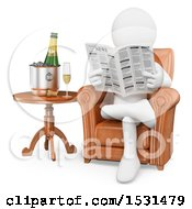 Clipart Of A 3d White Man Reading A Newspaper And Drinking Champagne On A White Background Royalty Free Illustration