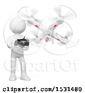 3d White Man Flying A Drone On A White Background