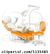 3d White Man In A Dental Chair On A White Background