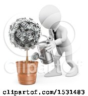Clipart Of A 3d White Business Man Watering An Investment Money Plant On A White Background Royalty Free Illustration