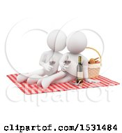 3d White Couple Enjoying A Romantic Picnic On A White Background