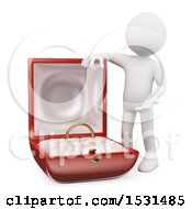 3d White Man With A Giant Engagement Ring In A Box On A White Background