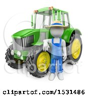 Poster, Art Print Of 3d White Man Farmer With A Tractor On A White Background