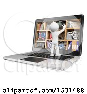3d White Man On A Giant Laptop With Multimedia Cubbies On A White Background