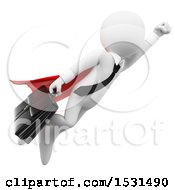 Clipart Of A 3d White Business Man Super Hero Flying On A White Background Royalty Free Illustration