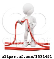 3d White Man Cutting Wires With Scissors On A White Background