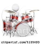 Poster, Art Print Of 3d White Man Drummer On A White Background