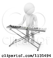 Clipart Of A 3d White Man Playing A Keyboard On A White Background Royalty Free Illustration