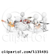 3d White Man Band Performing Live Music On A White Background