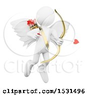 Clipart Of A 3d White Man Cupid Aiming An Arrow On A White Background Royalty Free Illustration