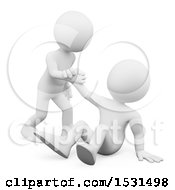 3d White Man Helping Someone Up On A White Background