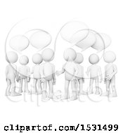 Clipart Of A 3d Group Of White Men Talking On A White Background Royalty Free Illustration