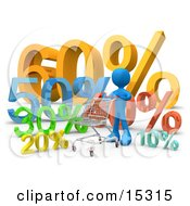Blue Person Pushing A Shopping Cart Past Discount Percentage Signs In A Store Clipart Illustration Image