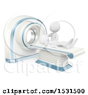 3d White Man Getting A Ct Scan On A White Background