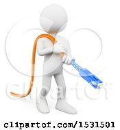 3d White Man Holding An Optical Fiber Connector On A White Background