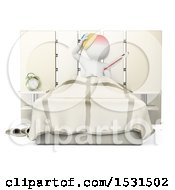 3d White Man Sick In Bed On A White Background