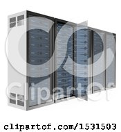 3d Communications Server Rack On A White Background
