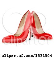 3d Pair Of Red Heels On A White Background