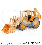 3d Backhoe Digger On A White Background