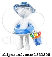 3d White Girl With An Inner Tube And Beach Toys On A White Background