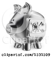 3d Silver Piggy Bank Vault On A White Background