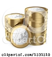 Clipart Of 3d Stacks Of Euro Coins On A White Background Royalty Free Illustration