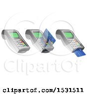 3d Credit Card Terminals On A White Background