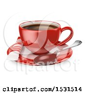 Clipart Of A 3d Red Coffee Cup On A Saucer On A White Background Royalty Free Illustration