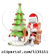 Clipart Of A 3d Santa Claus Reading A List On A White Background Royalty Free Illustration