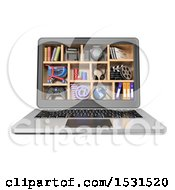 Clipart Of A 3d Laptop With Multimedia Cubbies On A White Background Royalty Free Illustration