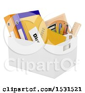 Clipart Of A 3d Box Of A Fired Employee On A White Background Royalty Free Illustration