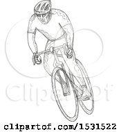 Clipart Of A Sketched Cyclist Racing On A Bicycle Royalty Free Vector Illustration