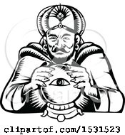 Poster, Art Print Of Black And White Woodcut Retro Fortune Teller With A Crystal Ball